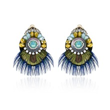 Rare precious jewelry The gift of nature Feather color acrylic Drop Earrings Fine jewelry 2017 hot new products Unique style(China)