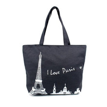 Paris Eiffel Tower Canvas Shoulder Bag Women Chic Large Bucket Bags Stylish Tote Travel Beach Shopping Bags Wholesale noJE6