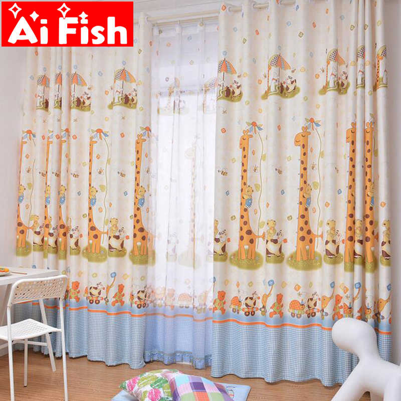 Modern Custom Children Curtains Giraffe Cartoon Semi-shade Window Curtains For Living Room Finished Study Room For Kids AP026-30