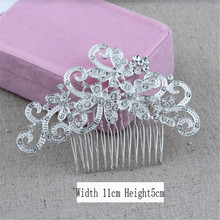 Fashion Beautiful Clear Crystal Wedding Bride Floral Hair Combs For Girl and women Headdress Prom Hair Jewelry Accessories