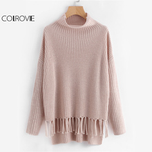 COLROVIE Turtleneck Pink Tassel Sweater Women Staggered Knotted Fringe Pullovers Fall 2017 Fashion Casual Loose Knitted Sweater(China)