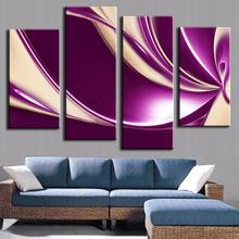New 4 Pcs/set Abstract Calligraphy Painting Fashion Purple Beige Geometric Wall Picture Home Decor