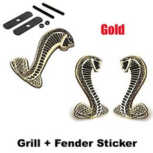 2pcs Sets  Cobra Front Grille Gold + Back Sticker Car Emblem Badge For Ford Mustang Shelby Cobra