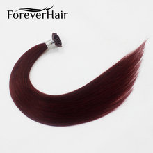 "FOREVER HAIR 0.8g/s 20"" Remy Flat Tip Human Hair Extension Burgundy #99J European Keratin Flat Tip Pre Bonded Hair Extension 40g(China)"