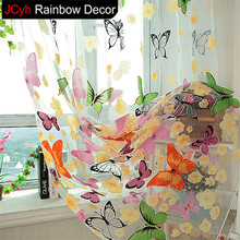 JRD Butterfly Curtains Tulle Curtain Colorful Floral Sheer Curtains For Living Room Screening Home Decor Bedroom Window Curtain