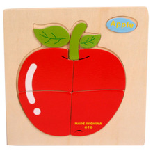 2017 Modern Wooden Apple Puzzle Educational Developmental Baby Kids Training Toy(China)