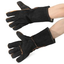 Safurance 32cm XL Heavy Duty Welding Gloves Stoves PU Leather Cowhide Protect Welder Hands Workplace Safety Glove