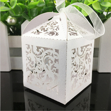 10pcs Flower Vine Laser Cut Hollow Carriage Favors Box Gifts Candy Boxes With Ribbon Baby Shower Wedding Event Party Supplies(China)