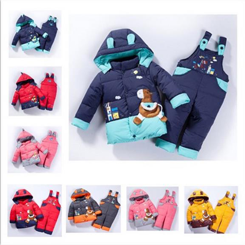 cartoon baby Children boys girls winter warm down jacket suit set thick coat+jumpsuit baby clothes set kids jacket animal Horse<br><br>Aliexpress