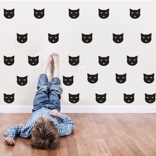 DCTOP 30pcs 9*8.5 Lovely Cat Vinyl Small Wall Decals DIY Animal Wall Stickers Removable Kitty Head Art Decals For Bedroom Decor