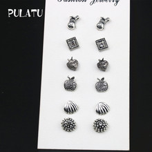 PULATU 6 Pairs/set Small Stud Earrings for Women Strawberry Apple Purse Shell Round Square Earring 2017 Fashion Jewelry ED0547