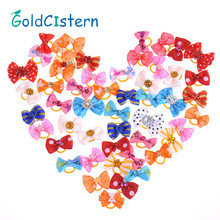 Hot Selling 50pcs Handmade Pet Cat Dogs Puppy Grooming Accessories Mixed Ribbon Hair Bow Dog Rubber Band pets gift(China)