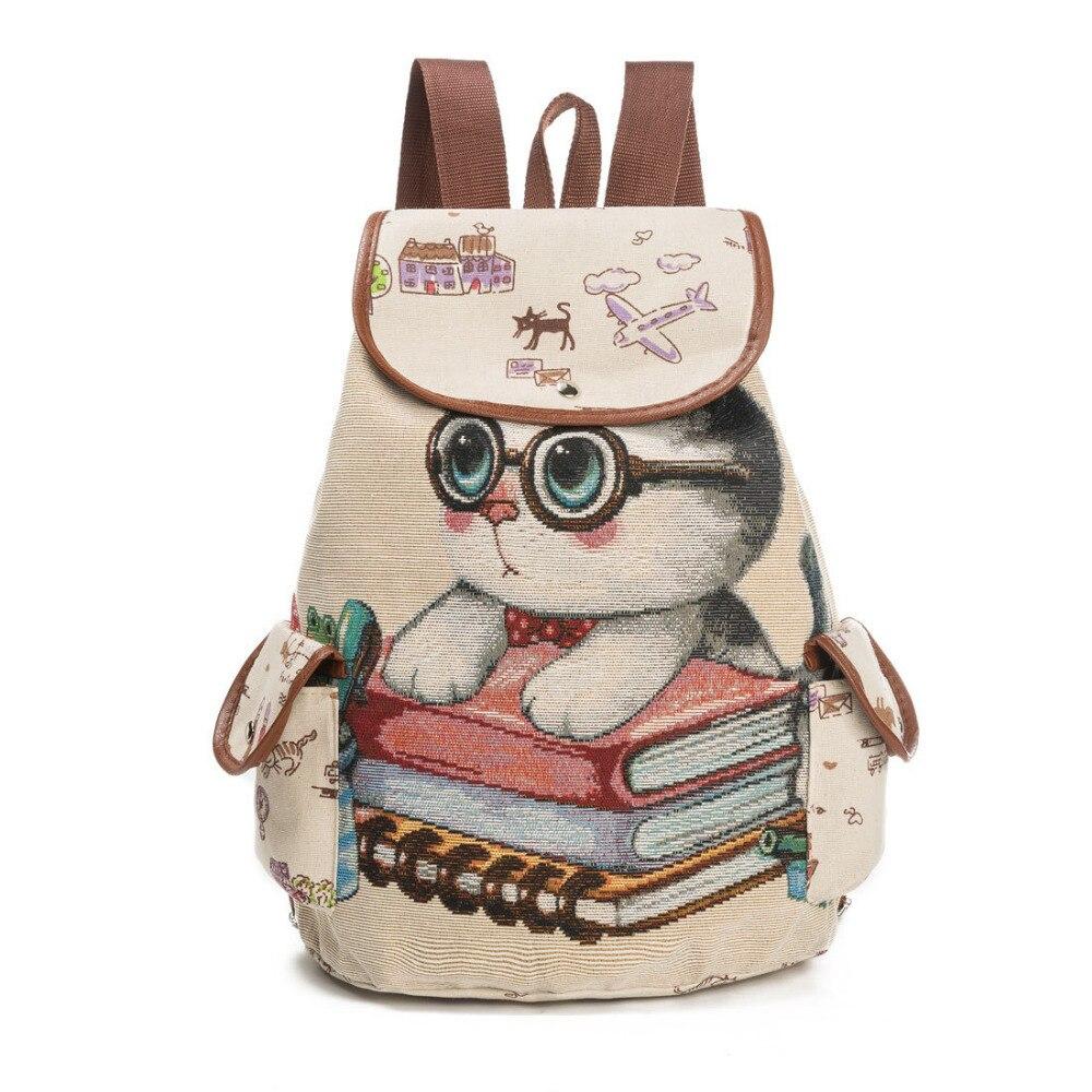 Backpack Women Lovely Cat Printed Drawstring Backpack Teenager Large Capacity Ladies School Bag Casual Canvas School Backpack<br>