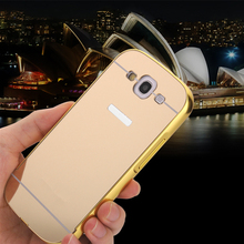 S3 Luxury  Aluminum Metal + Acrylic Mirror Battery Back Cover Case for samsung Galaxy S3 i9300 Plating Surface Phone bags