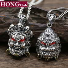2017 Men Women Buddha Pendant 925 Sterling silver Vintage Ethnic God of Wealth Necklace Pendant Christmas Gift Fine Jewelry FP24(China)