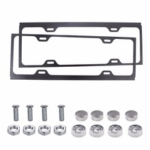 1Pair Universal Stainless Steel Metal License Plate Frame Holder Cover Kit with Screws for Car Auto Vehicle