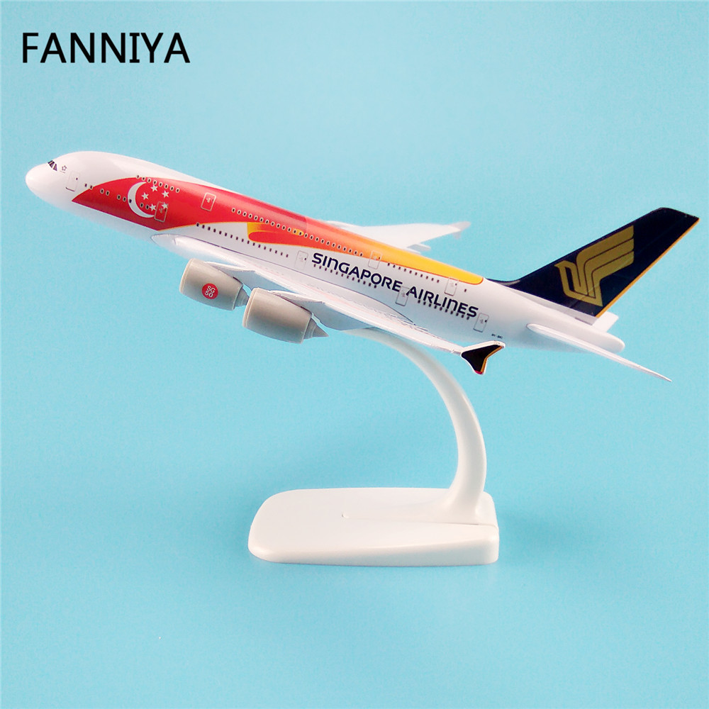 20cm Red Star Moon Air Singapore Airlines Airbus 380 A380 Airways Plane Model W Stand Metal Airplane Model Aircraft Gift(China (Mainland))
