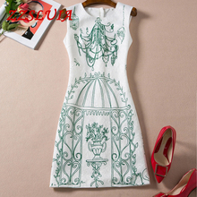 S-XXL 2017 new nice brief ladies elegant hanging baskets printed designer O neck sleeveless slim vest jacquard dress 697160
