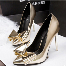 Gold silver  point toes fashion womens wedding party pumps shoes with bow, WY058 thin high heels ladies dress dance slip on pump