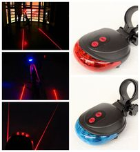 Bicycle Rear Light Red Laser Tail Bike Blue Light Cycling Lamp Flashing Safety Warning 5LED+2Laser Bicycle Accessories