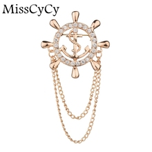 MissCyCy Personality Navy Wind Gold Color Anchors Brooch Men Jewelry Rhinestone Brooches For Women