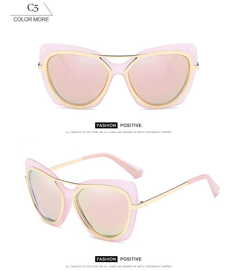 ROUPAI Unique Latest Ladies Sunglasses Polarized Cat Eye Sun Glasses For Women Original Brand Designer Female Man Oculos Vintage