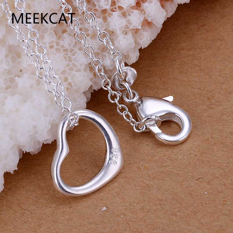 Small heart pendant Silver Plated & Stamped 925 necklaces Colar de Prata 20'' snake chains female Gift MEEKCAT