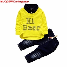 2018 Hot Sale Kids Sports Kids Long Shirt Tops Pants Jeans Casual Spring Set Outfits Baby Boy Clothes Baby Clothing Baby Clothes(China)