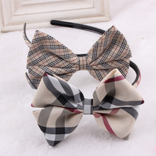 British Style Headband Plaid Hair Accessories Girls Hairband  Hair Bow Flower Headband Headwear Headwrap Wholesale-4