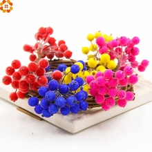 1cm 20pcs/lot Mini Scrapbooking Stamen Srtificial Berry Bouquet Flower for Party Wedding Candy Box Decoration Crafts Supplies