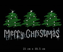 Free Shipping small quantity merry christmas tree for christmas hotfix  rhinestone iron on transfers design