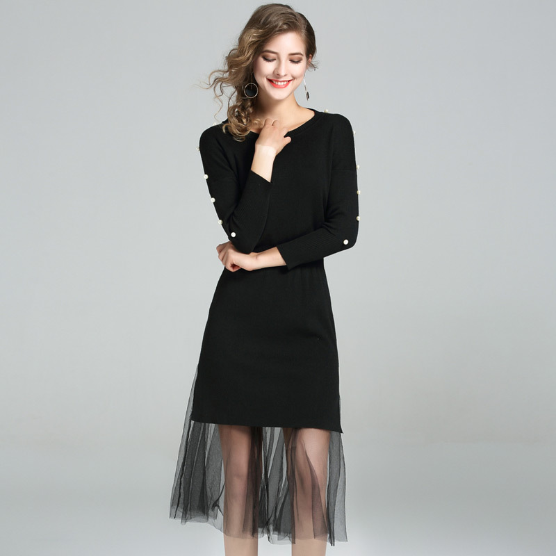 HMCHIME Autumn hollow out elastic waist knitted dress high quality fashion sexy rivet seven sleeve pure color woman dress HM706Îäåæäà è àêñåññóàðû<br><br>