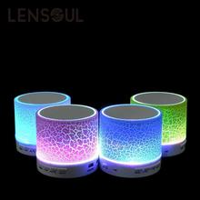 lensoul Mini Portable Wireless Bluetooth LED Light Speaker Support 3.5mm AUX TF Card U Disk Speakers Crack Style