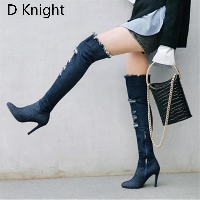 2018 Winter Boots Sexy Ponited Toe Women\`s Over The Knee Boots Fashion Denim Blue thigh High Boots Large Size 48 High Heels Boot (8)