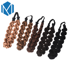 M MISM 2017 New Synthetic Hair Plaited Plait Elastic Headband 3CM Width Women Princess Hairband Hair Accessories(China)