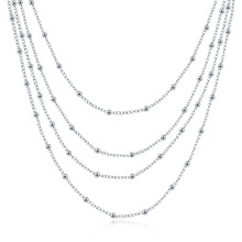 JEXXI Women's Vintage Simple Design Four Layers Long Chain 925 Sterling Silver Necklace For Women Bridesmaid Gift