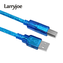 Larryjoe USB 2.0 Extension Print Cable1.5M 3M 5M OHFC Copper Transparent Blue Wholesale Extended USB Cable for Printer HDD(China)