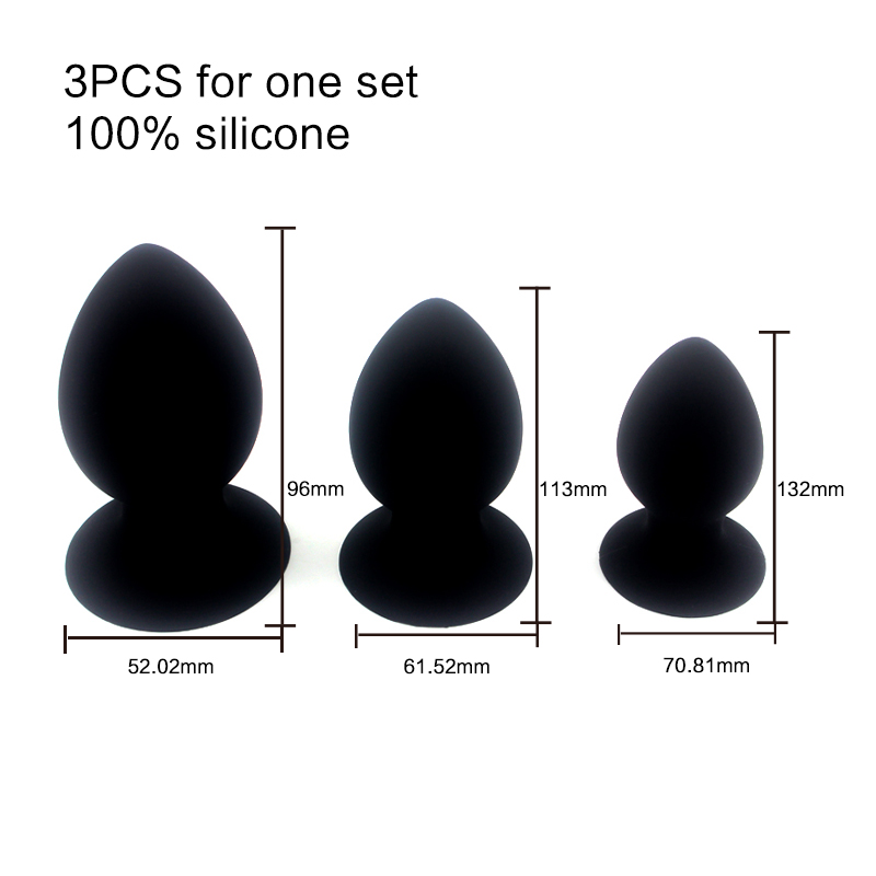 Sex Products For Adult  large medium small 3 pcs Butt Plug Silicone Anal Plug Strong Sucker Anal Sex Toys<br>