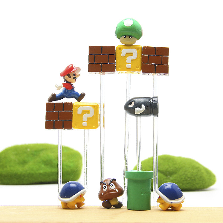 Super Mario Mini Action Figures Mushroom Toad Nendoroid Question Wall Square Building Blocks DIY Toys Parts Decoration Kid Toys