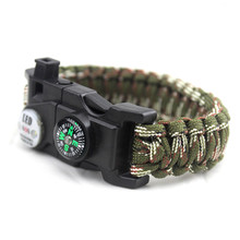 High Quality Product SOS Bracelet LED Lamp Emergency Survival Bracelet Outdoor Camping Compasses Multi-Function Hand Rope(China)