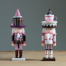 2pc/set 25cm Wooden Nutcracker Doll Sweety Soldier Vintage Handcraft Puppet Decorative Ornaments Home Decoration Christmas Gifts(China)