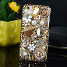 DIY Diamond Bag Flowers Bling Crystal Stone Luxury Decoration Case for Samsung Galaxy S8 plus J3 J5 J7 A3 A5 A7 2016 2017 prime
