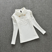 3-15Y Girls White Blouse Lace School Girl Blouse For Girls Long Sleeve Shirts Spring & Autumn Fashion Shirt Kids Clothes AA1985