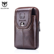 BULLCAPTAIN Phone Cigarette Purse Fanny Pack Waist Bag Leather Hip Bum Money Belt Bag Waist Packs Men Belt Pouch Bags Vertical