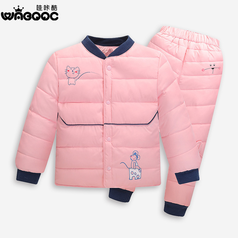 New Kids Clothes Baby Boys Girls Winter Down Coat Children Warm Jackets Outerwear Coat+Pant Clothing V-0470<br><br>Aliexpress