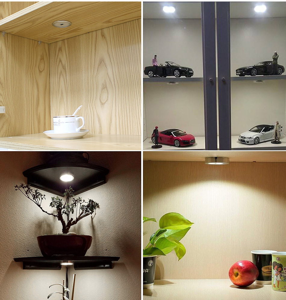 LED Under Cabinet Lights Kitchen Counter Aluminum Silver Round Puck Lamps 6pcs 12V Bookcase Wardrobe Light Cupboard Lighting12