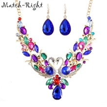 Match-Right Women Maxi Necklaces & Pendants Statement Custome Colorful Swan Necklace With Pendant for Women Cute Jewelry NL-626(China)