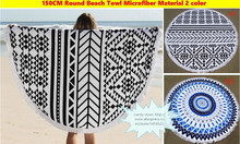 24pcs DHL 2016 New Microfiber Round Beach Towels with Tissel 150CM Bath Towels mix 2 colors Summer Holiday Gifts(China)