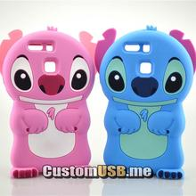 For Huawei P9 Case 3D cute Cartoon Soft Rubber silicon Stitch Case Folding of the Ear(China)