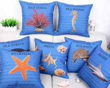 Sea World Marine Biology Cushion Covers Dolphin Shark Turtle Starfish Shell Coral Cushions Cover Linen Cotton Pillow Case